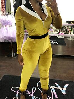 Contrast Color Zipper Long Sleeve Velvet Jumpsuit