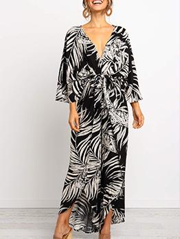 Loose v Neck Printed Casual Maxi Dresses