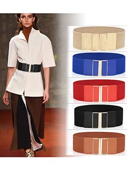 Elegant Elastic Pure Color Wide Waist Belt