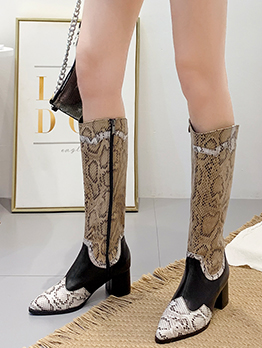Contrast Color Side Zipper Snakeskin Boots