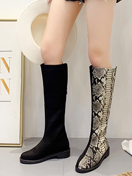 Contrast Color Mid Calf Snake Printed Boots