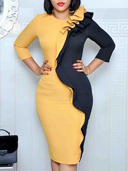 Color Block Lacework Patchwork Long Sleeve Dress