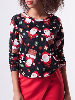 Christmas Santa Printing Crewneck Sweatshirt