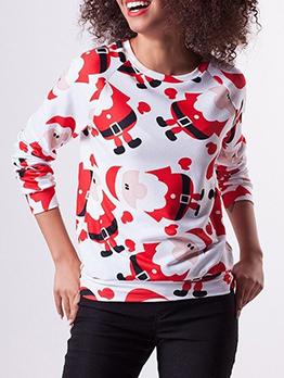 Cartoon Santa Pattern Christmas Sweatshirts For Women