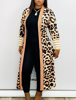 Trendy Leopard Print Ankle Length Women Long Coat
