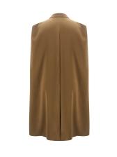 Notch Collar Button Decor Solid Long Coat