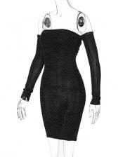 Off The Shoulder Bodycon Black Long Sleeve Dress