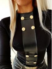 Leather Patchwork Button Decor Black T-shirt