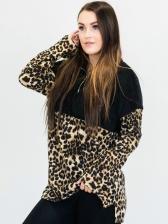 Leopard Stitching Zipper Fleece Sweater