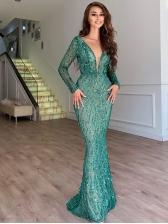 Deep v Sequined Long Sleeve Evening Dresses