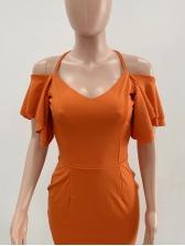 Cross Belt Backless Ruffle Sleeve Ladies Dress