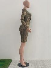 Deep V Neck Glitter Long Sleeve Dress For Party