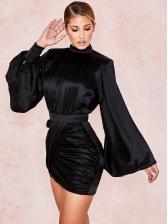 Lustrous Solid Lantern Sleeve Bodycon Dress