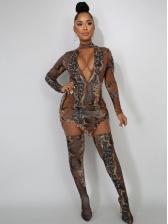 Deep V Neck Snake Print Sexy Two Piece Dress Set