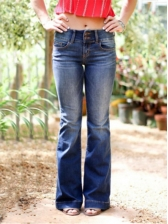 Solid Long Bootcut Denim Pants