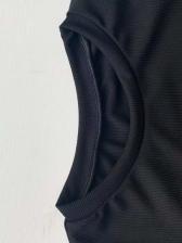 Button Decor Slit Black Long Sleeve Dress