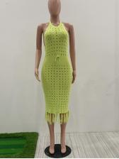 Tassel Hem Hollow Out Solid Halter Dress