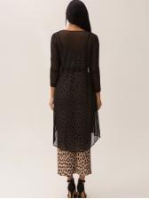 Autumn Leopard Split Hem Two Piece Dress