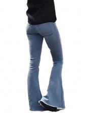 Skinny Solid Bell Bottom Pants