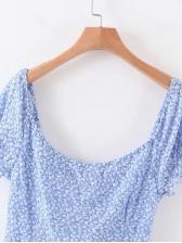 Vintage Printed Floral Short Sleeve Summer Dresses