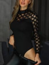Hollow Out Mock Neck Long Sleeve Black Bodysuit