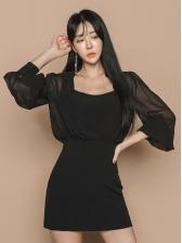 Chiffon Patchwork Bodycon Black Dress