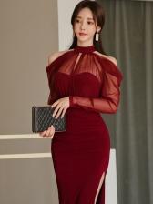 Gauze Patchwork Split Evening Dresses Online
