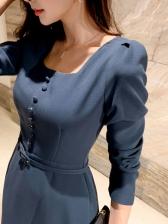 Ol Styles Solid Female Long Sleeve Dress