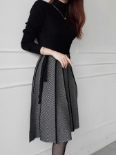 Lace Up Patchwork Ladies Knitted Dress
