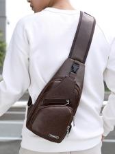 Usb Design Zipper Up Sporty Bumbag For Men