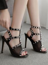 Peep Toe Rivet High Heel Sandals