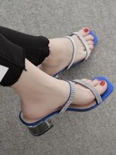Rhinestone Clear Chunky Heel Womens Slippers