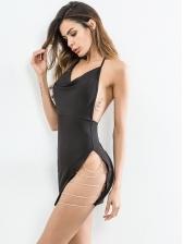 Rhinestone Chain Patchwork Slit Halter Neck Dress