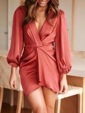 Deep v Solid Lustrous Long Sleeve Dress
