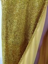 Fitted Split Hem Sequin Strapless Golden Evening Dress