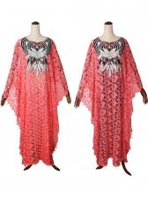 Loose Sequins Patchwork Ladies Lace Maxi Dress