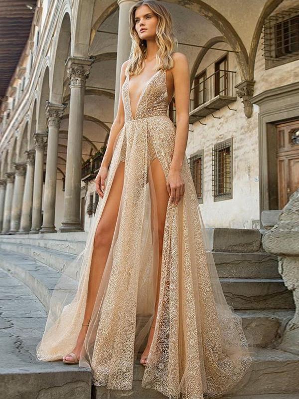 Deep v Lace Slit Sexy Evening Dresses