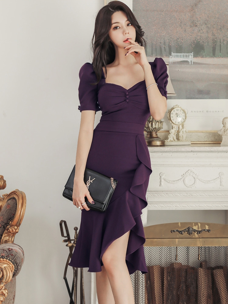 Solid Puff Sleeve Ruffled Party Dress