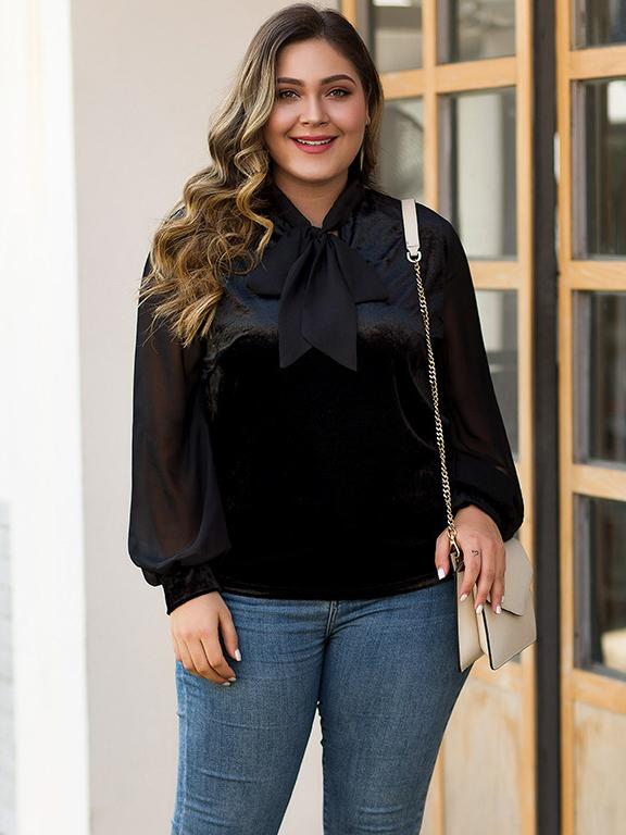 Black Solid Plus Size Bow Blouse