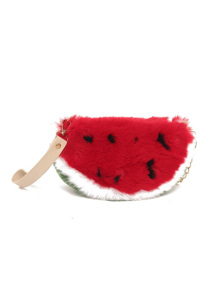 Cute Watermelon Shape Plush Chain Crossbody Bags
