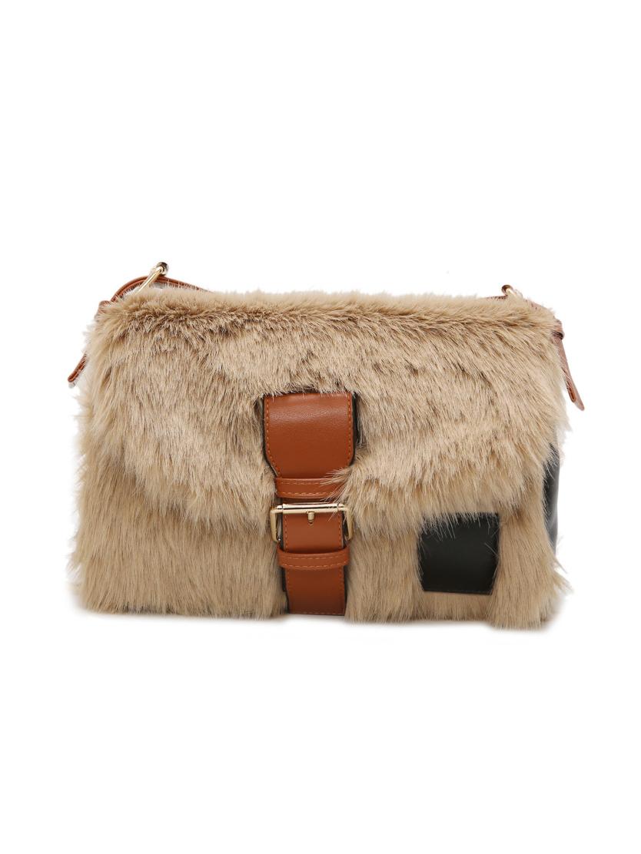 Adjustable Belt Plush Rectangle Shoulder Bags For Women