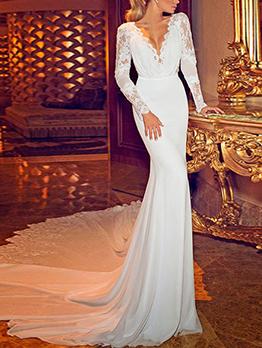 Deep v White Backless Designer Evening Gowns