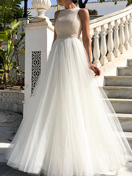 Euro Sleeveless Solid Patchwork Simple Wedding Dresses