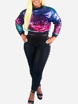 Graduated Color Sequin Crewneck Sweatshirt