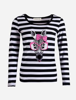 Cute Zebra Printed Striped T Shirt