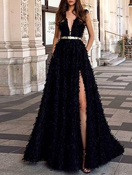V Neck Backless Split Black Ball Gown