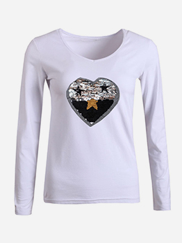 Star Love Sequined T Shirt Printing
