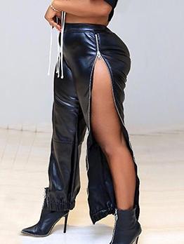 High Waist Split Hem Zip Black Pu Long Pants