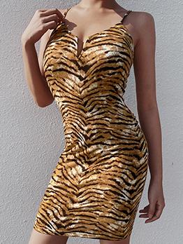 Tiger Skin Printing Slip Sexy Dress