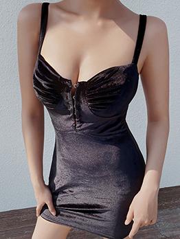 Sexy Suede Low-Cut Sleeveless Sheath Dress